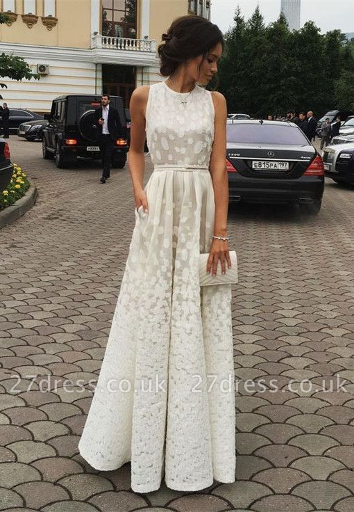 Luxury White Sleeveless Lace Floor Length BA3619