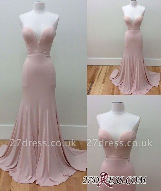 Pink Sleeveless Long Sweetheart-Neck Simple Mermaid Prom Dress UKes UK