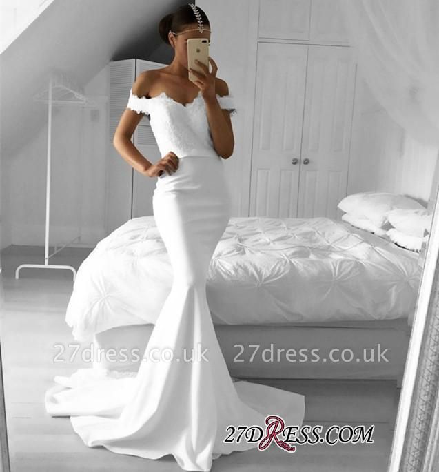 Off-the-Shoulder Sexy Mermaid Lace Prom Dress UKes UK BA6220