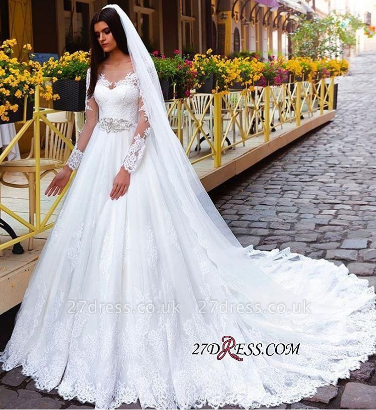 Crystal Elegant Lace Princess Long-Sleeve Wedding Dresses UK