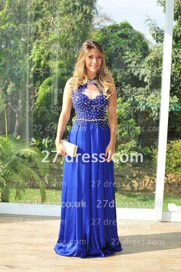 Chiffon Royal Blue Prom Dress UKes UK New Arrival Gowns for Evenings High Collar Sheer Sexy Back Lace Pearls Long Vestido Long