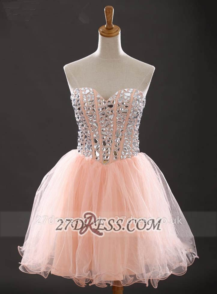 Gorgeous Sweetheart Sleeveless Short Homecoming Dress UK With Crystals Lace-up BA6890