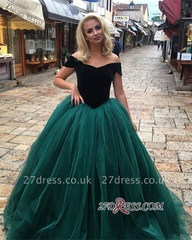 Off-The-Shoulder Gorgeous Tulle Ball Gown Long Prom Dress UKes UK