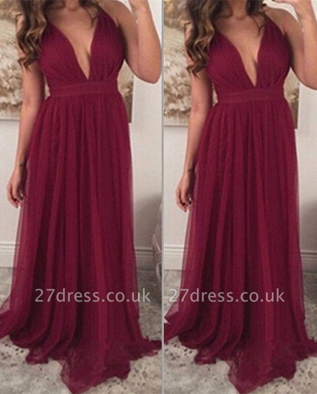 Sexy Burgundy Sleeveless Long Prom Dress UKes UK Chiffon Floor Length