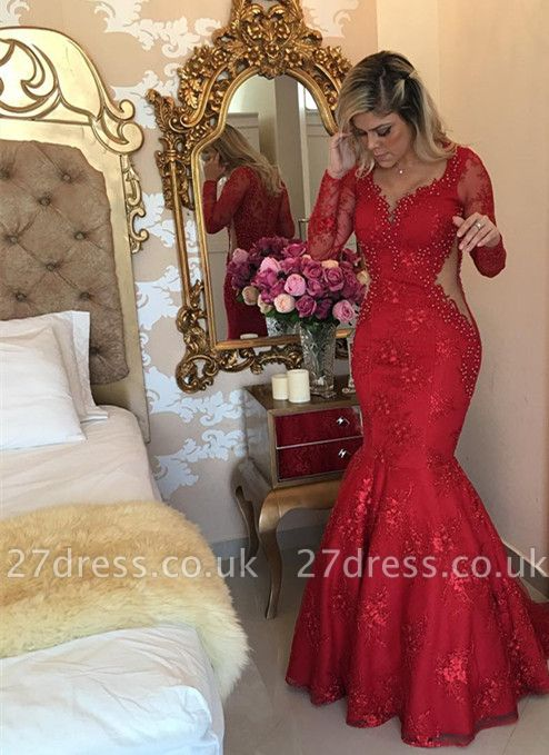 Sexy Long Sleeve Red Evening Dress UK Lace Beads Mermaid Party Dress UK BMT