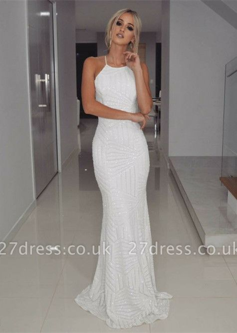 Halter White Sequins Prom Dress UK   Mermaid Long Evening Gowns