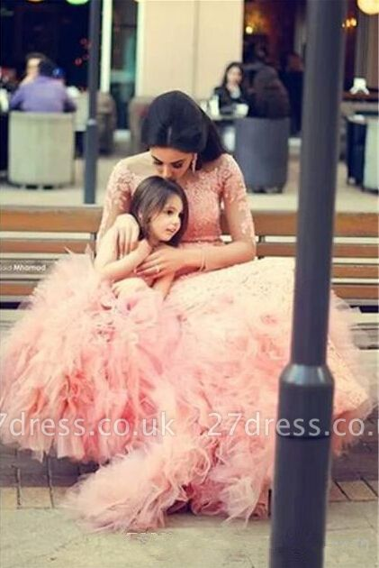 Long Sleeve Pink Lace Mermaid Wedding Dress With Ruffles Mother and Daughter Dress
