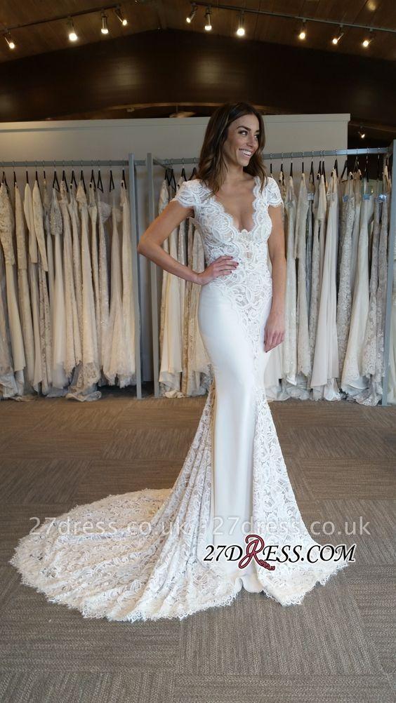 Elegant Cap Sleeve Sexy Mermaid V-Neck Lace Applique Wedding Dresses UK Online