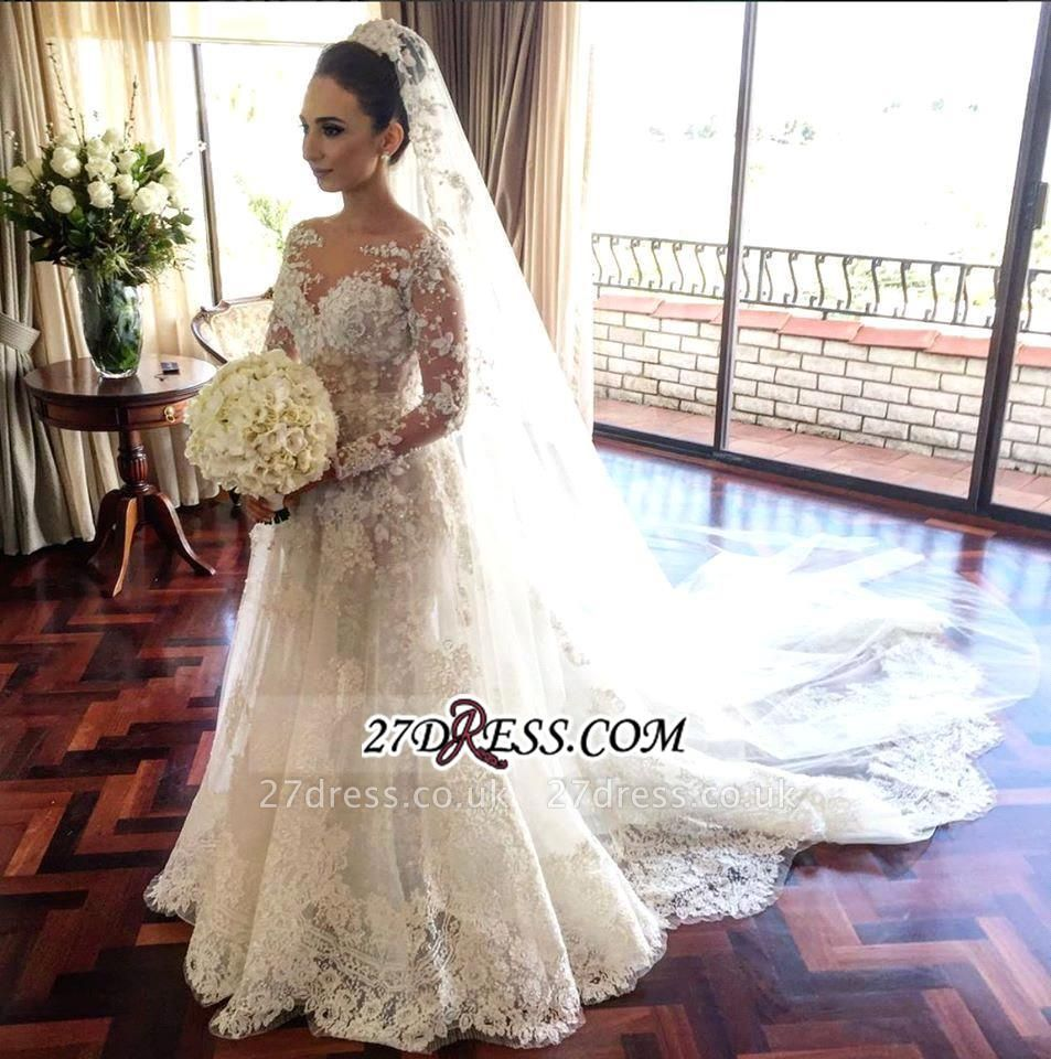 Long Elegant Sleeve Lace Tulle Beadss Royal Wedding Dress