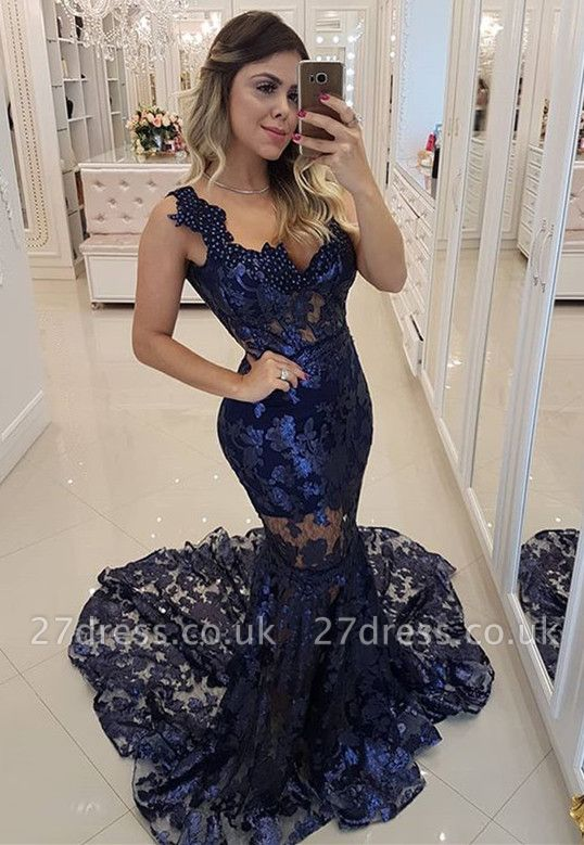 Modern Beading Lace Mermaid Straps Evening Dress UK | Dark Navy Party Gown
