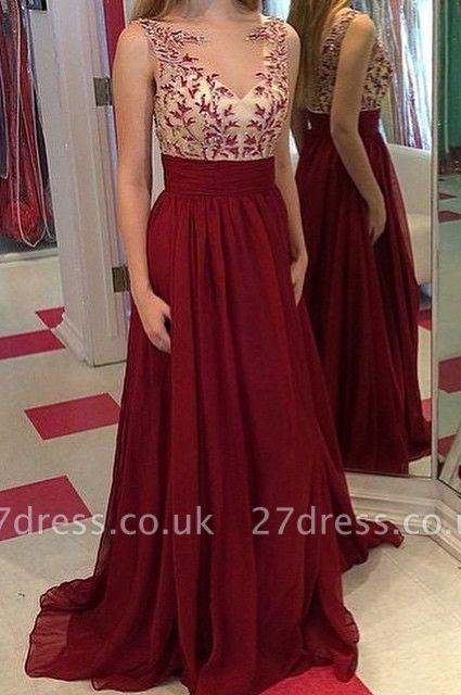 Luxury Burgundy Sleeveless Prom Dress UKes UK Long Chiffon Appliques Party Gowns