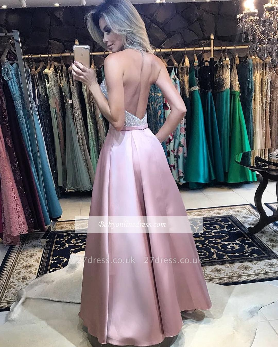 Halter A-Line Pink Prom Dress UK   Beadings Backless Evening Dress UK