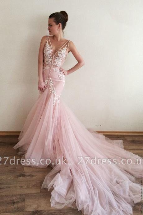 Luxury V-Neck Sleeveless Tulle Prom Dress UK Lace Appliques
