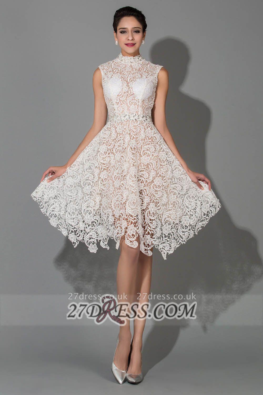 Sexy Halter Sleeveless Lace Homecoming Dress UK Knee-length With Beadings