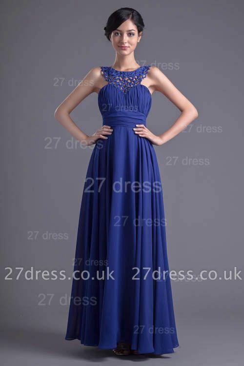 Sexy Chiffon A-line Lace Evening Dress UK Zipper Floor-length