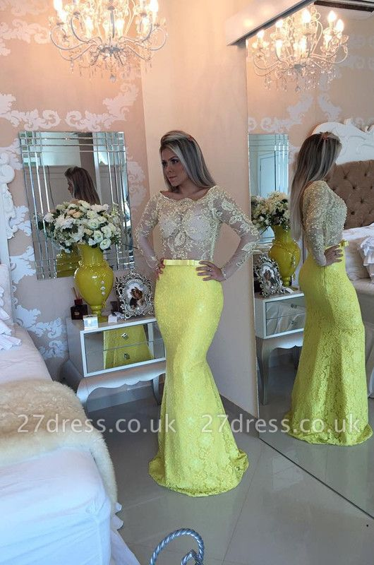 Stunning Yellow Long Sleeve Evening Dress UK Lace Mermaid Prom Gown