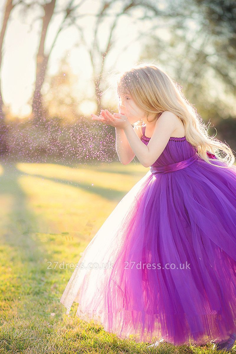 Lovely Sleeveless Purple Tulle Princess Flower Girl Dress Princess BA3422