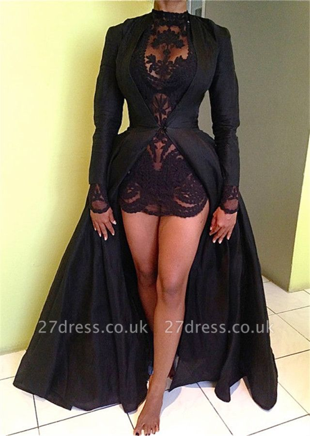 Elegant Black High Neck Detachable Evening Dress UK Long Sleeve