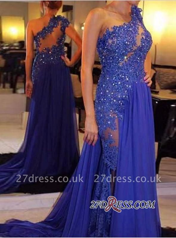 Royal-Blue One-Shoulder Appliques Sexy Beadings Evening Gowns BA6288