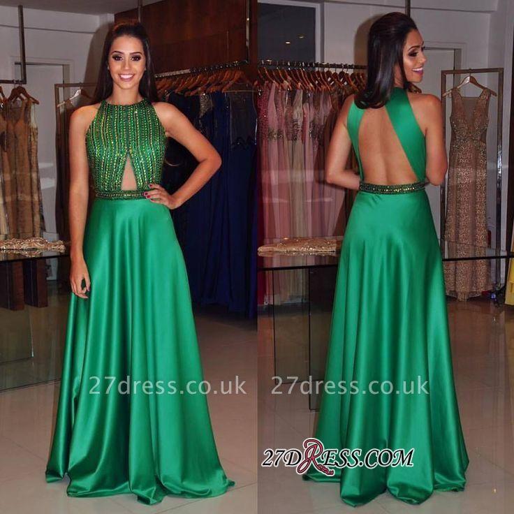Floor-length Modest Green A-line Long Beads Sleeveless Jewel Prom Dress UK