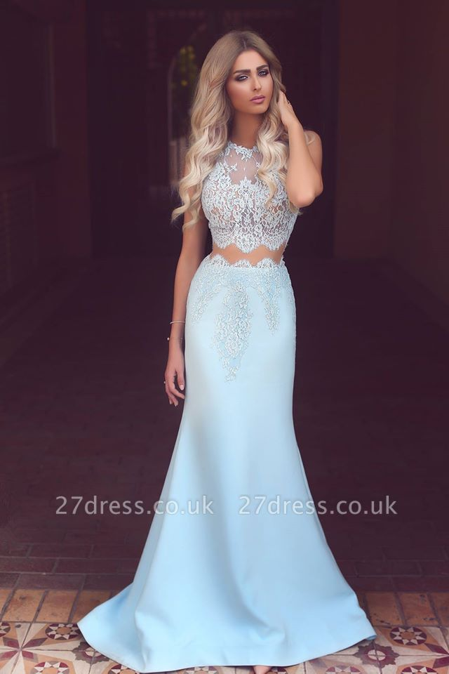 Modest Two Pieces lace Evening Dress UK Mermaid Floor Length BA3914