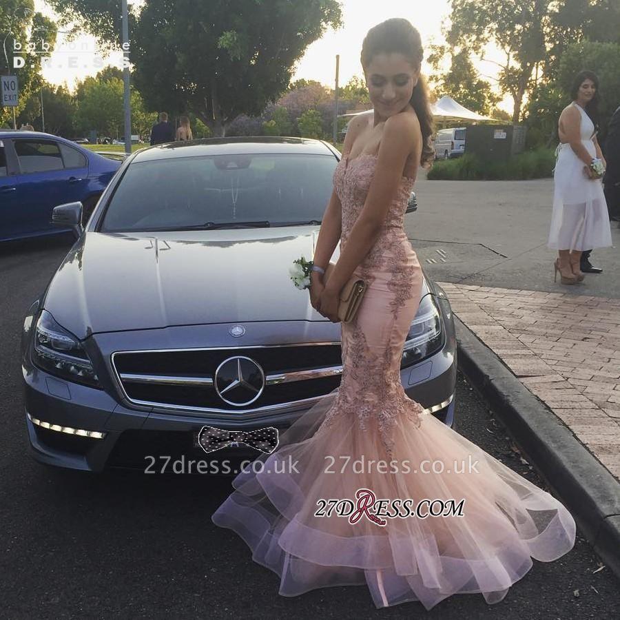 Sexy Zipper Mermaid Sweetheart Tulle Appliques Prom Dress UK