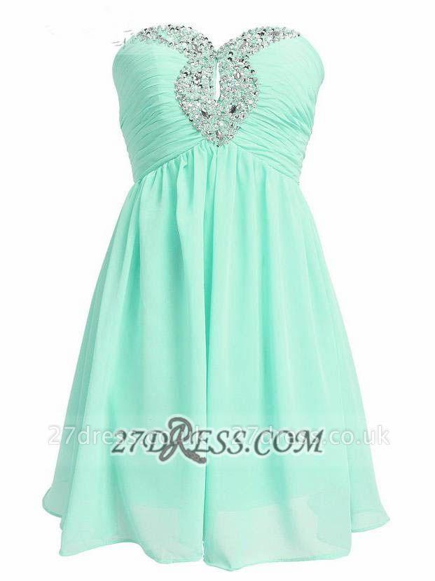Lovely Semi-sweetheart Sleeveless Cocktail Dress UK Beadings Crystals Zipper Chiffon Short Homecoming Gown