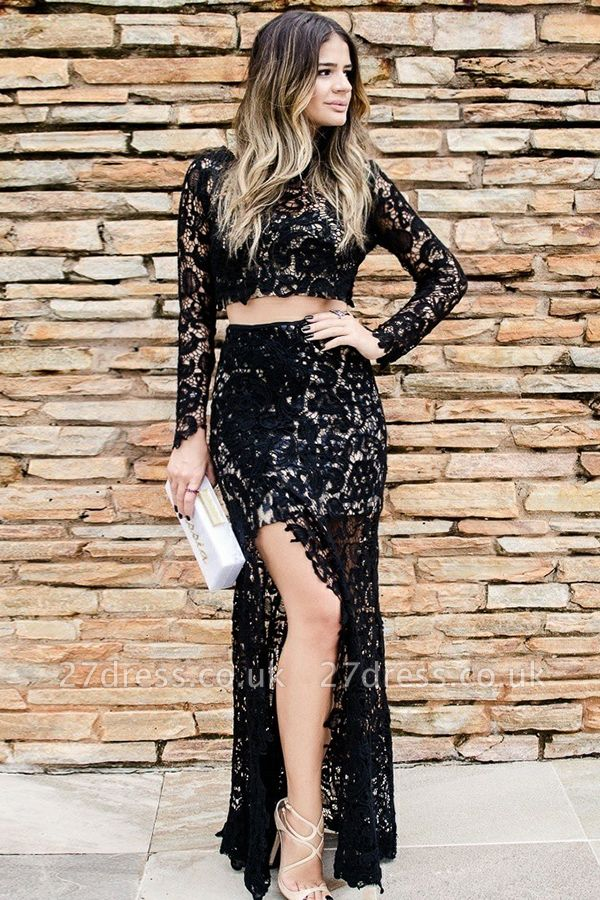 Cheap Two Piece Prom Dresses UK Online | Long Sleeve Slit Lace Evening Dress
