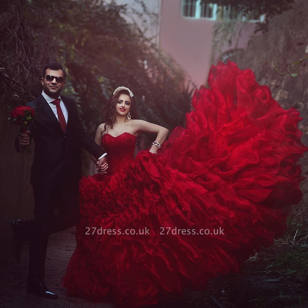 Elegant red Sweetheart Organza Prom Dress UKes UK Appliques Ball Gown TD023