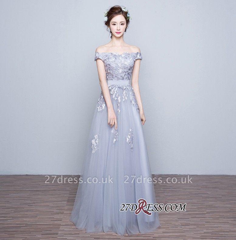 Lace-Up-Back Floor-Length Lace-Appliques Off-the-Shoulder A-line Prom Dress UKes UK