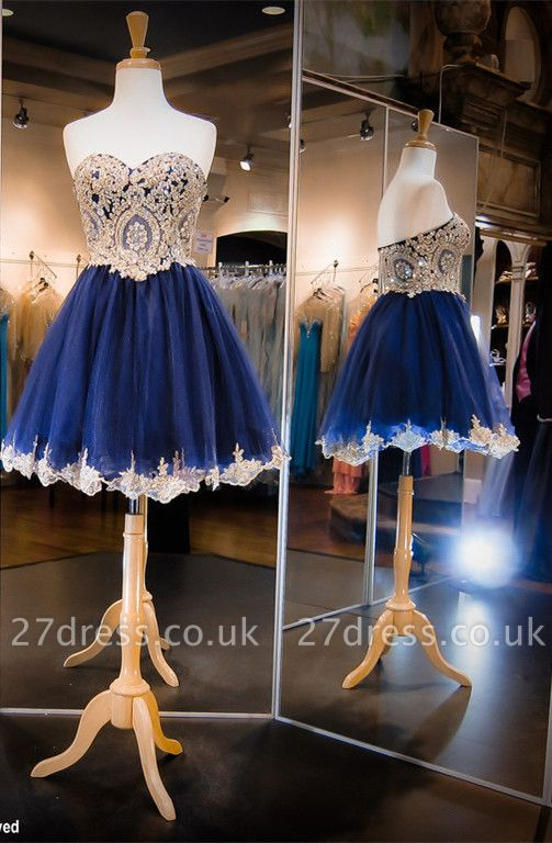 Luxurious Sleeveless Sweetheart Short Homecoming Dress UK Crystals Appliques
