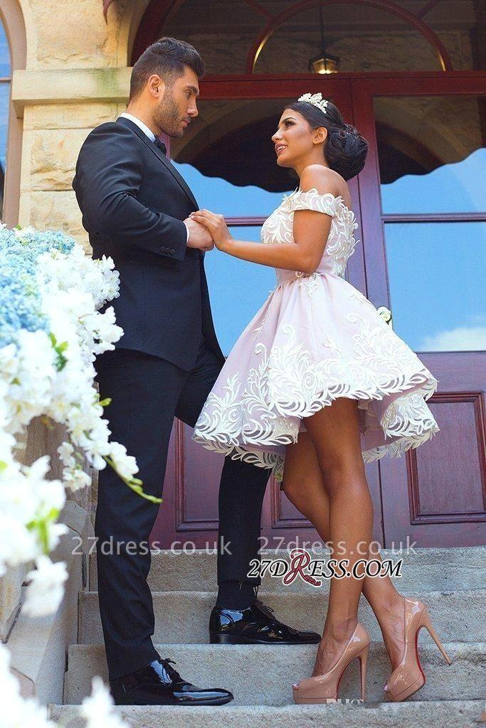 Short Off-the-Shoulder Gorgeous Zipper Lace Homecoming Dress UK
