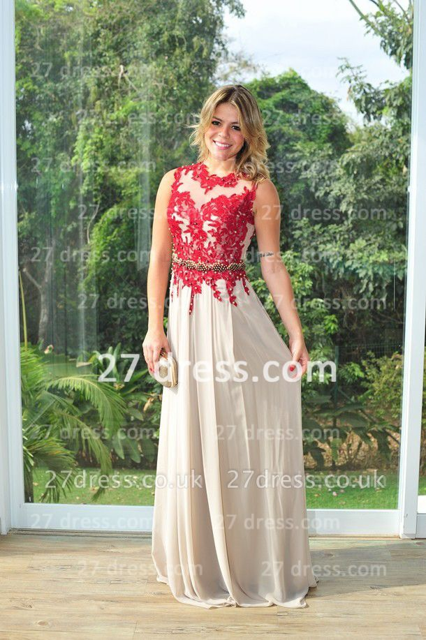 Red Lace Womens Evening Party Gowns Chiffon Long Applique New Design High Collar Prom Dress UKes UK