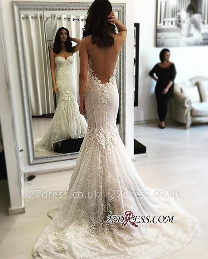 Sexy Mermaid Sweetheart Sweep-Train Backless  Lace Wedding Dresses UK