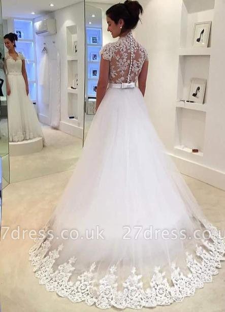 Dreamy Cap Sleeve Lace Wedding Dress Zipper Button Back Bridal Gowns