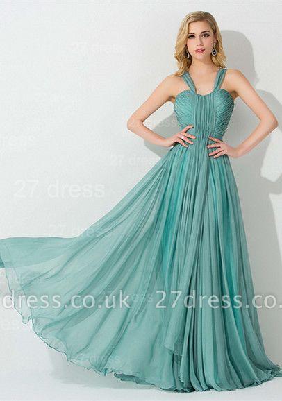 Sexy Straps A-line Chiffon Evening Dress UK Sweep Train