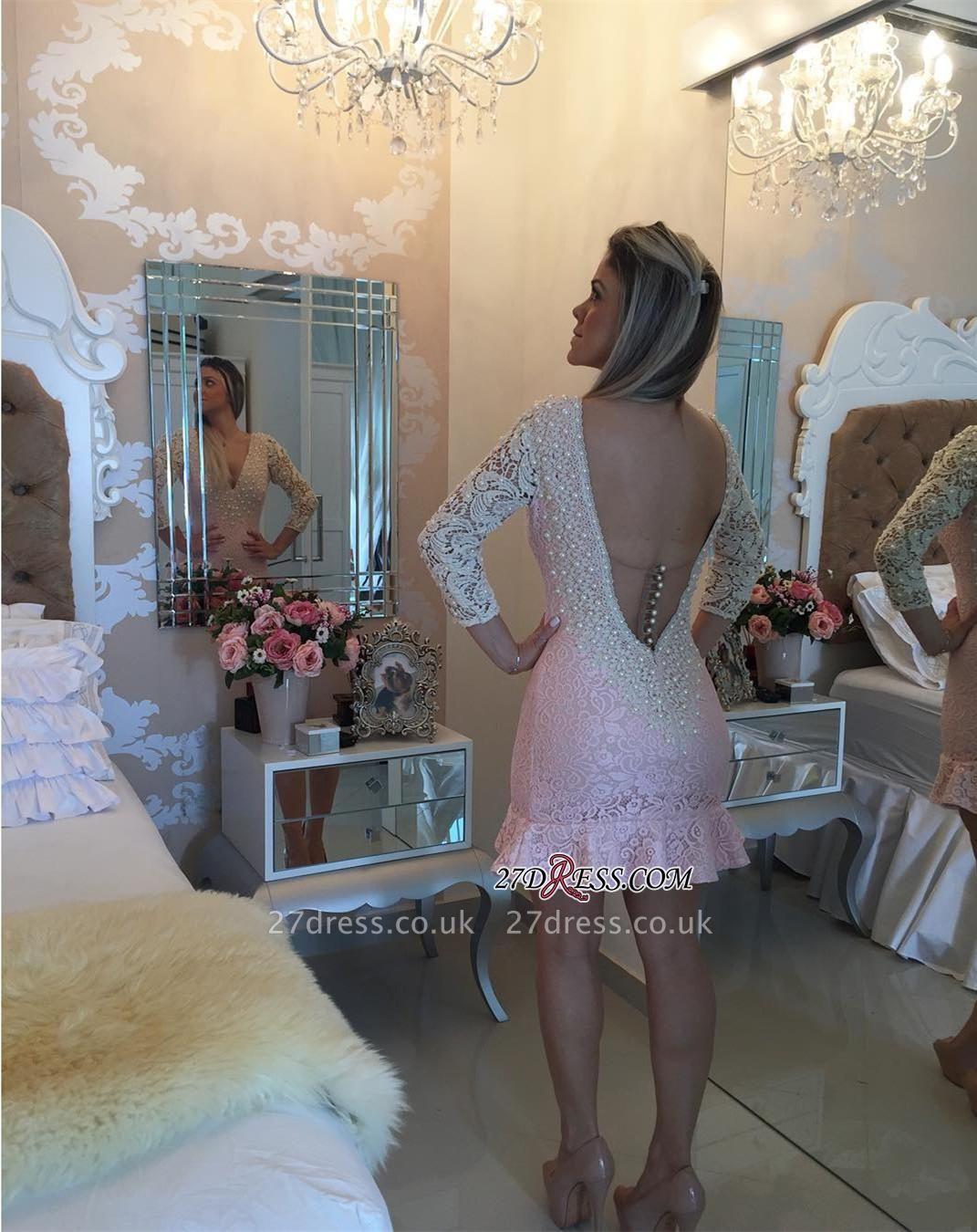 Pearls V-neck Bodycon Elegant Lace Mini Backless Short Homecoming Dress UK