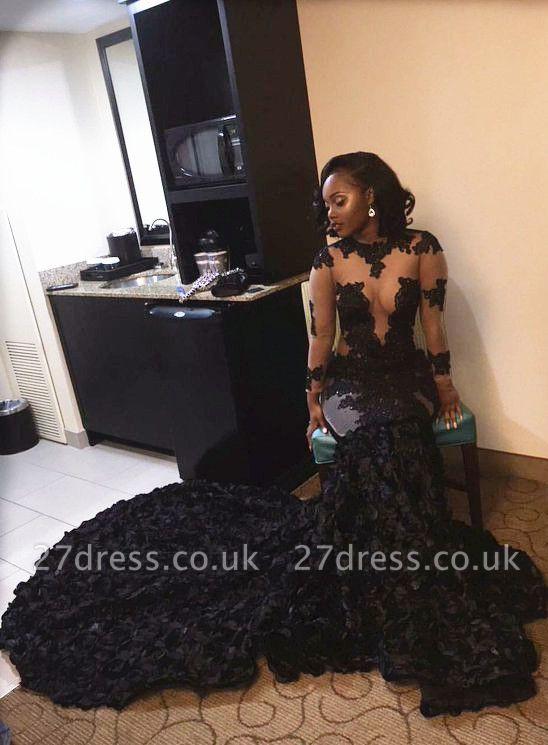 Elegant Black Long Sleeve Prom Dress UKes UK Lace Appliques Flowers Bottom ce066 BK0