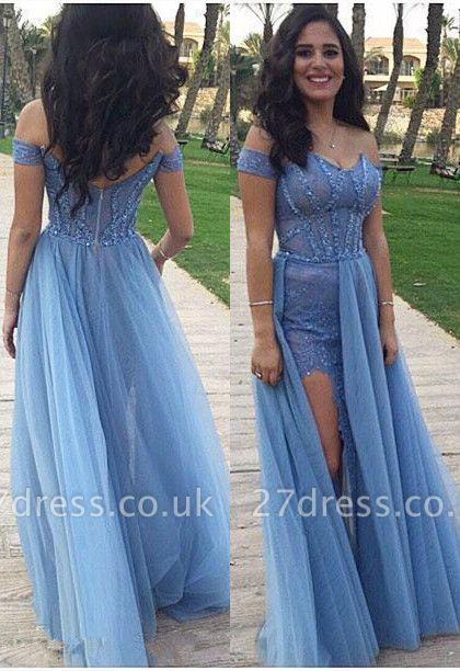 Gorgeous Off-the-Shoulder Long Prom Dress UK Tulle Zipper Back
