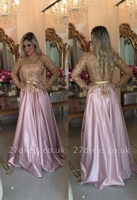 Gorgeous Gold Appliques Evening Dress UK A-Line Long Sleeve BMT