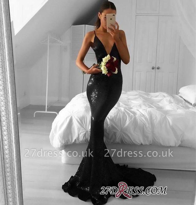Elegant Sequined Black Mermaid Sweep-Train V-Neck Prom Dress UKes UK