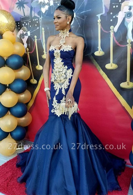 Navy Blue Halter Prom Dress UK | Mermaid Evening Gown With Appliques BK0