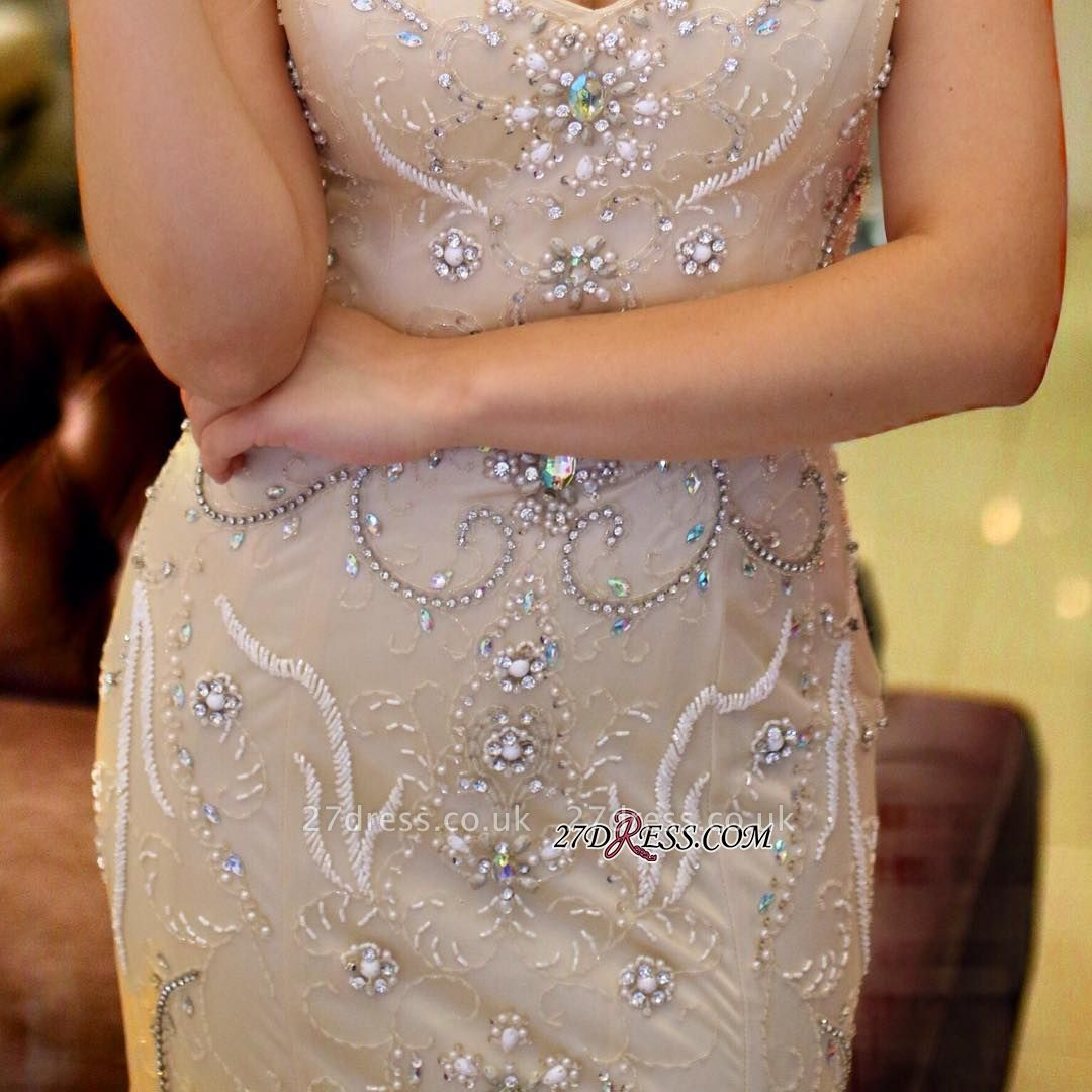 V-Neck crystal prom Dress UK, mermaid long evening Dress UK
