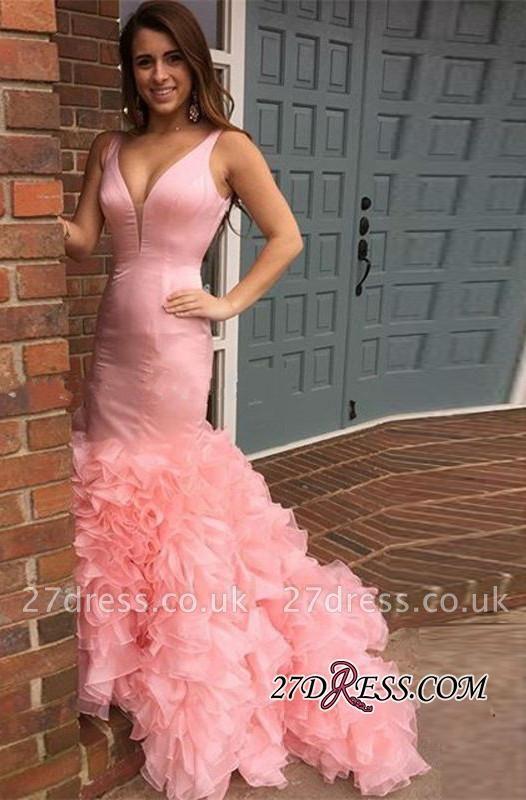 Elegant Long Pink Mermaid Sleeveless Tiered Evening Dress UKes UK