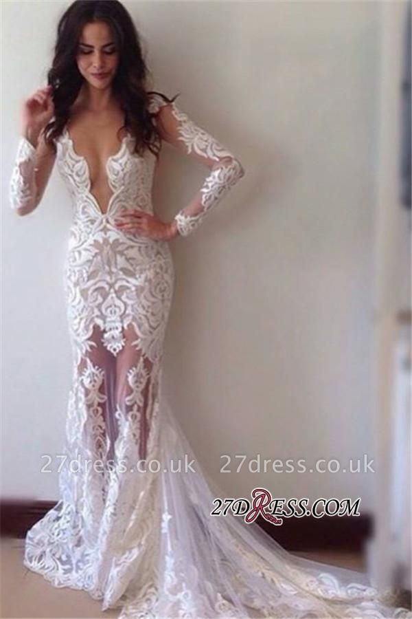 Lace Long-Sleeves Appliques Sheath Elegant  Prom Dress BA3814