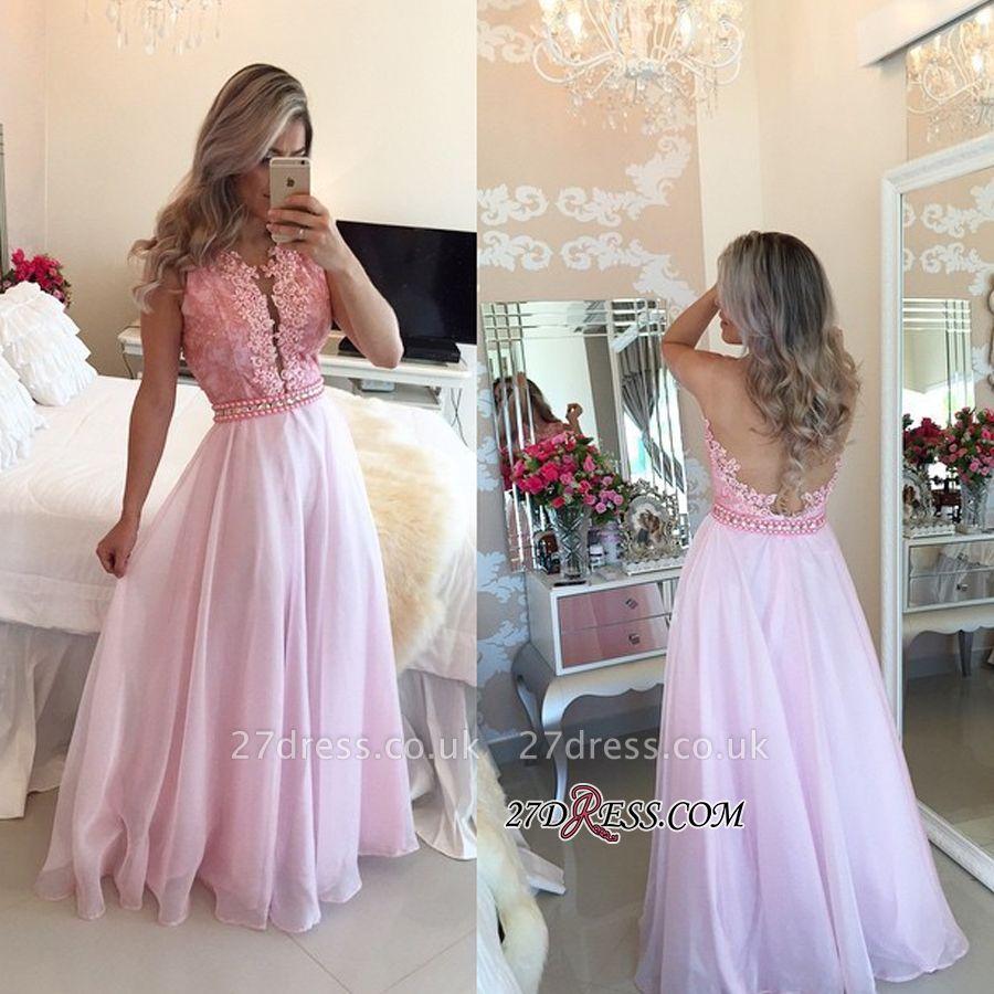 Pink Sheer-Tulle Crystal Appliques A-Line Elegant Prom Dress UKes UK