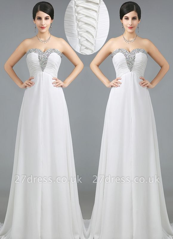 Luxury Sweetheart Crystals Prom Dress UK Long Chiffon Lace-Up