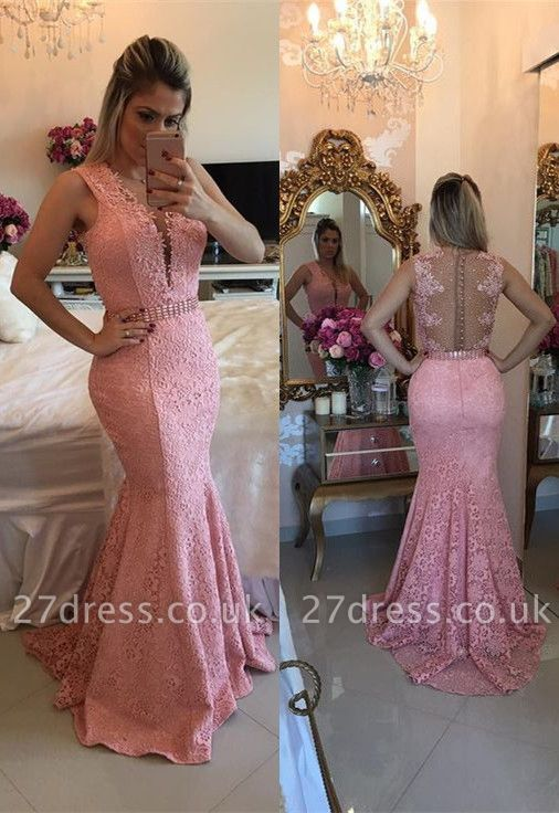 Luxury Sleeveless Lace Evening Dress UK Mermaid Party Gowns BMT BA9607