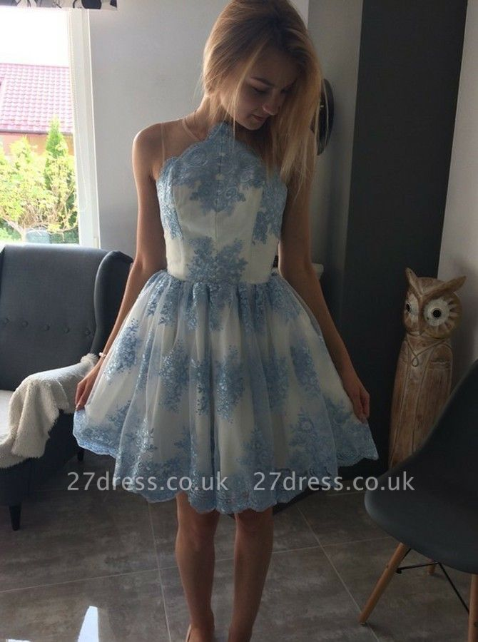 Delicate Lace Appliques Sleeveless A-line Homecoming Dress UK | Short Party Gown
