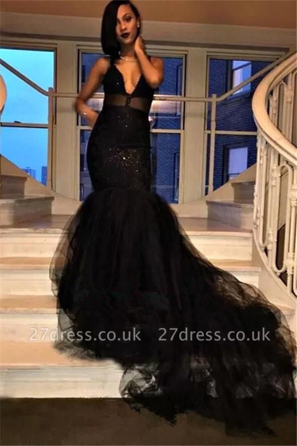 Elegant Black Prom Dress UK | V-Neck Evening Gowns Long BK0